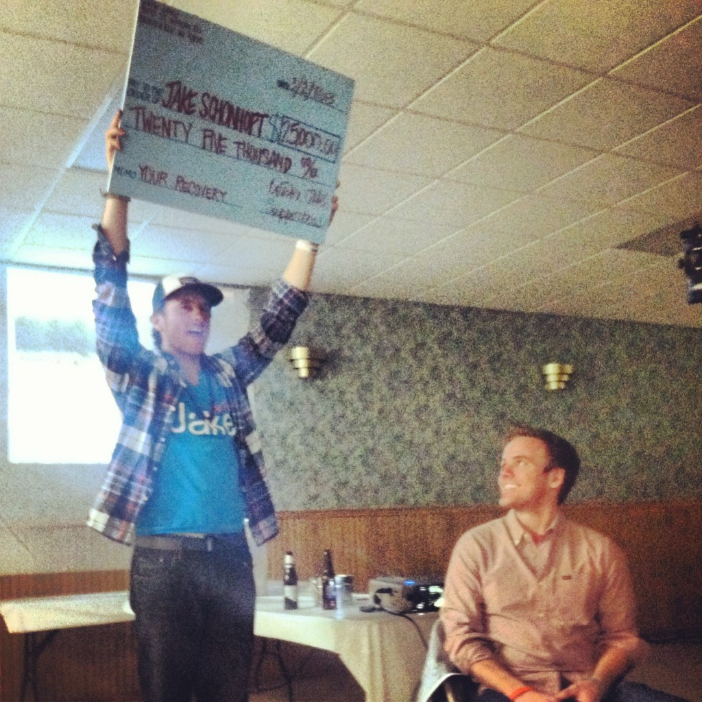 Presenting Jake the check